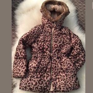 H&M Leopard Print Puffer Jacket Sz 4/5